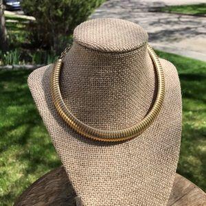 Vintage brass choker necklace 1970s designer